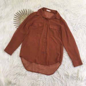 Lush Womens Sheer Autumn Orange Button Down Shirt